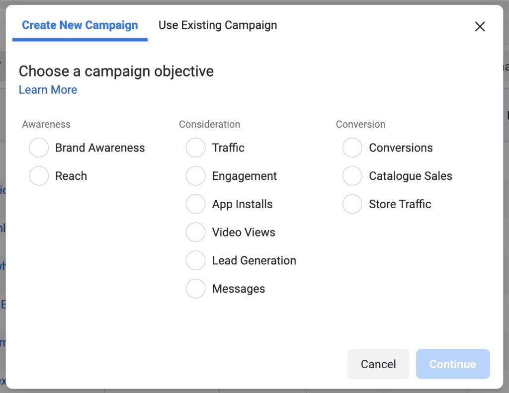 Facebook Ads Choose a campaign objective
