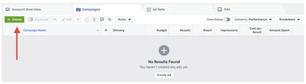 Facebook Ads main interface